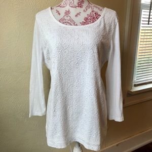 Old Navy L/S White T-shirt with Lace Overlay L